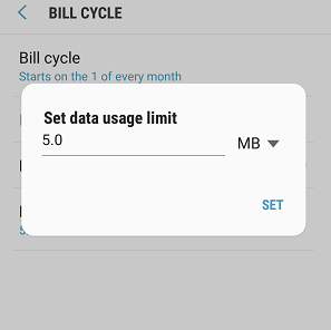 how to set your data limit on android a5 2017