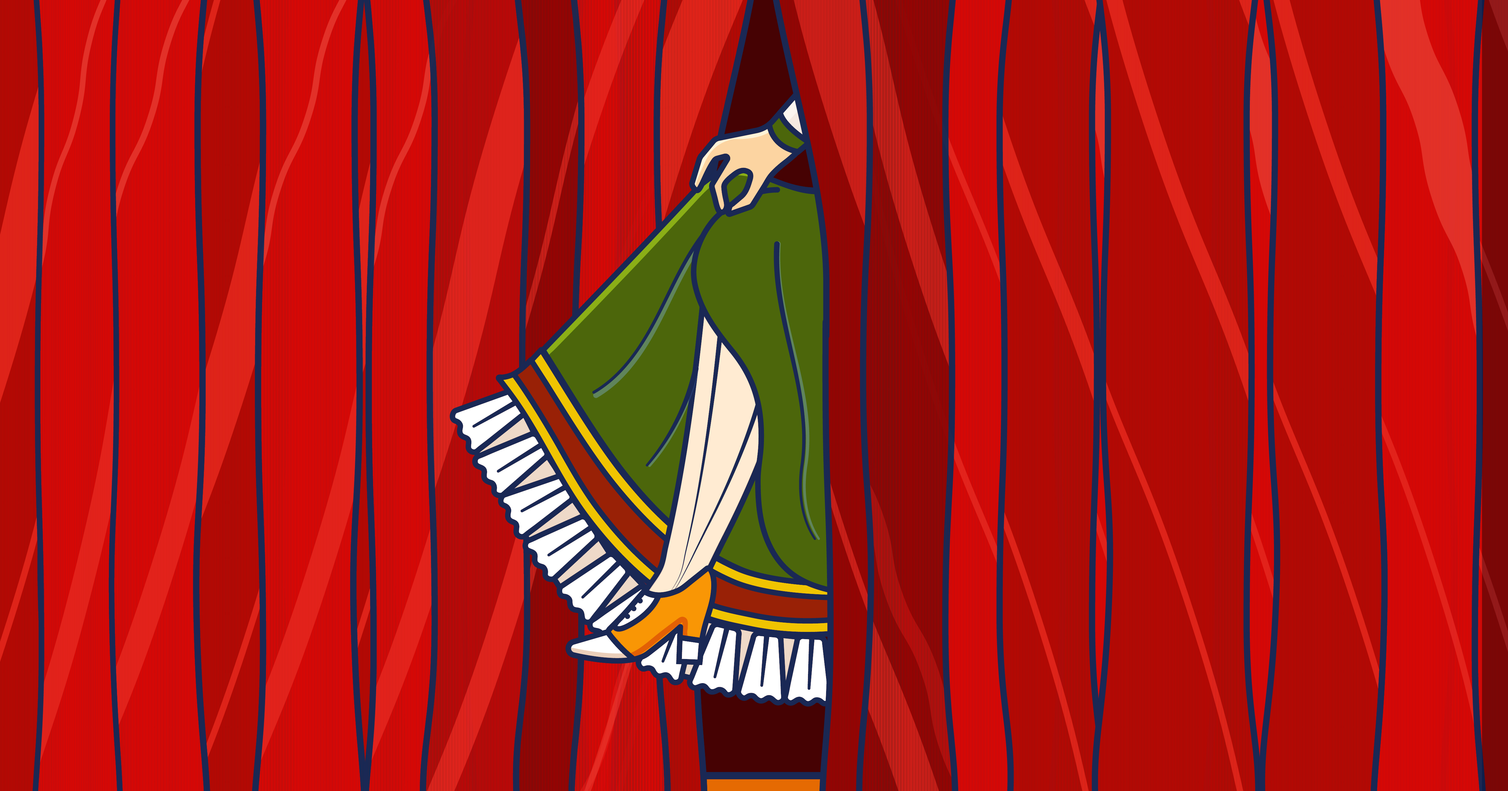 curtain with a leg