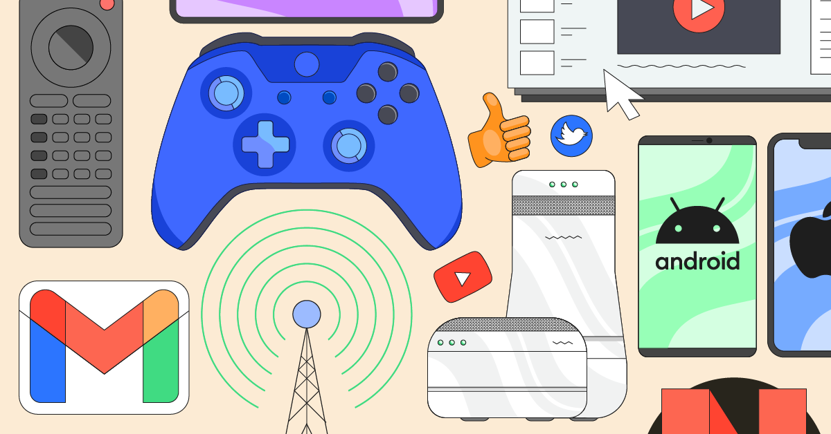 Parental control guide illustrated by a blue Nintendo controller, Android phones, a Switch, the YouTube logo, and more
