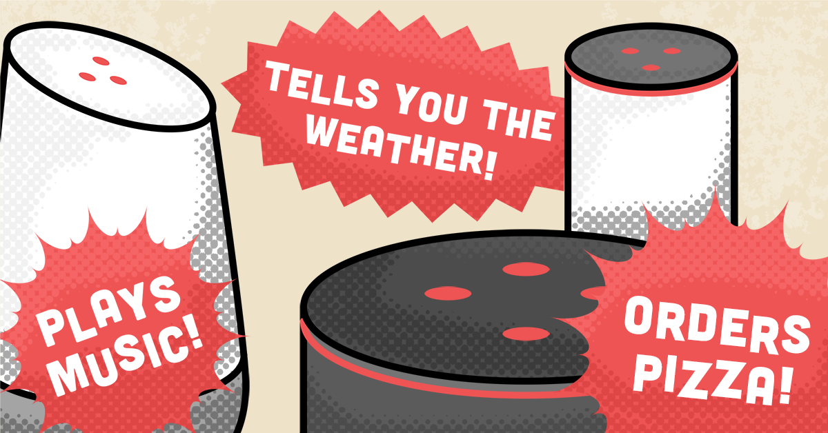 Three smart speakers with speech bubble commands