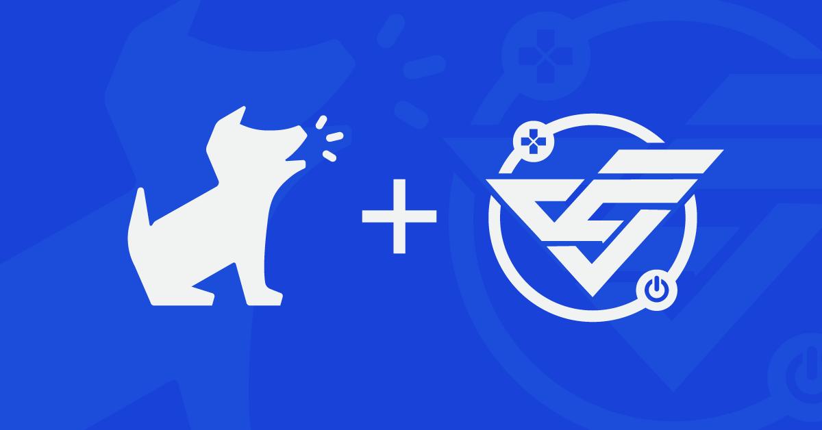 The Bark logo and the Varsity Esports logo on a blue background