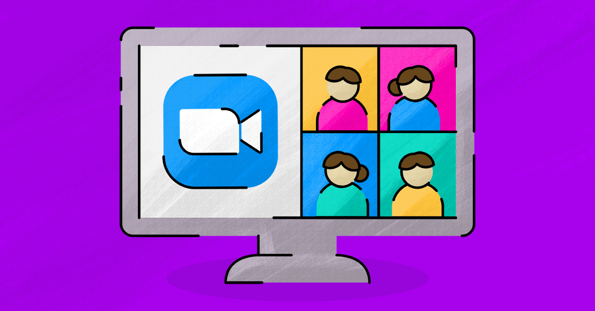An illustrated version of a computer with a Zoom video call