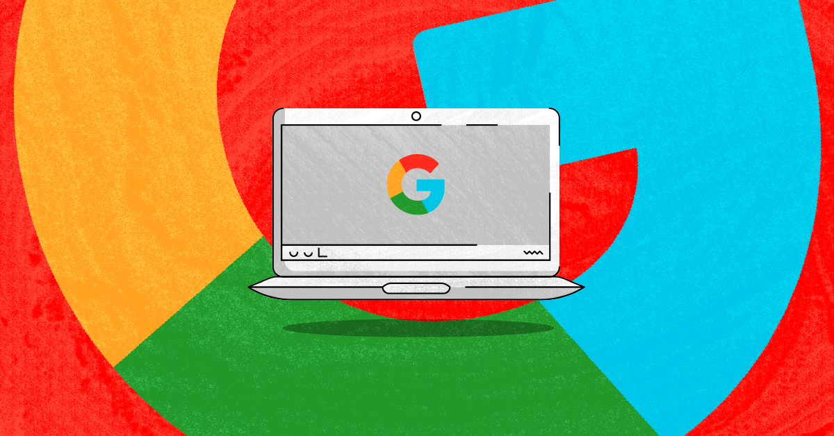 A Chromebook in front of a Google logo