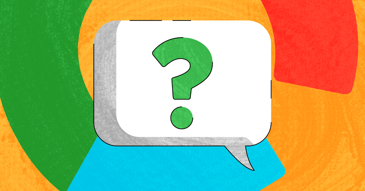 A question mark in a speech bubble with the Google logo in the background