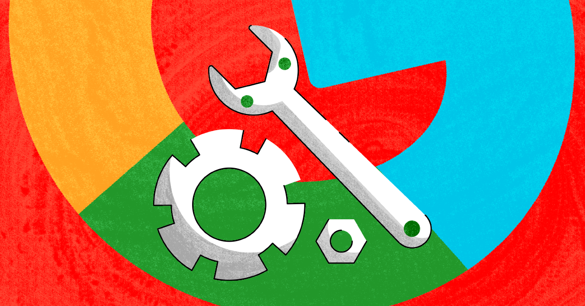 A cog, wrench, and nut with the Google logo in the background