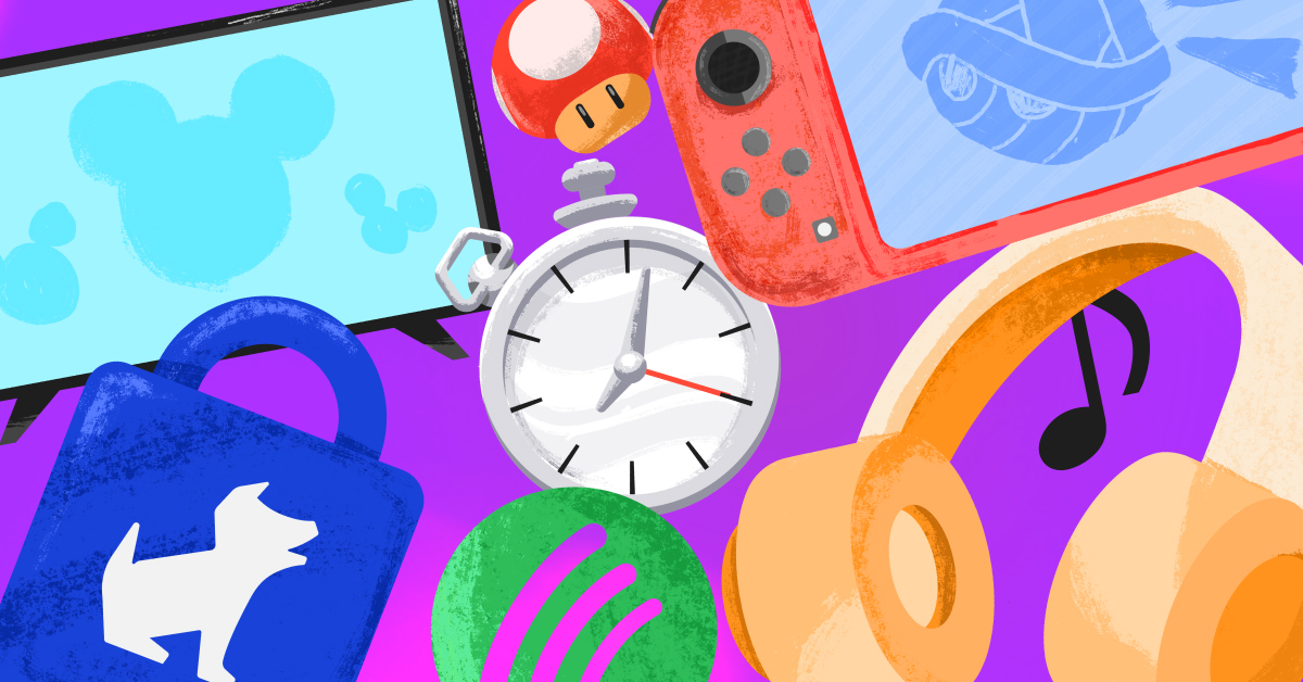 A clock, tablet, set of headphones, music note, Spotify logo, and more against a purple background