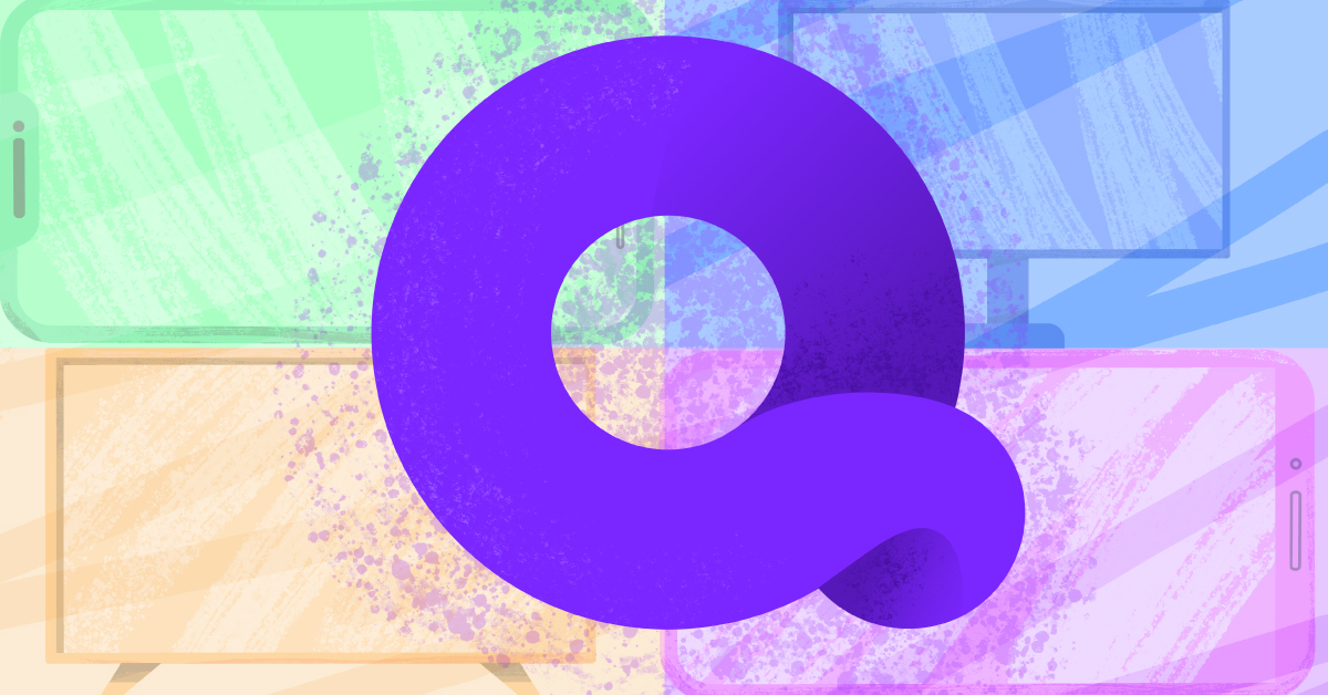 The Quibi logo against a green, blue, orange, and pink background