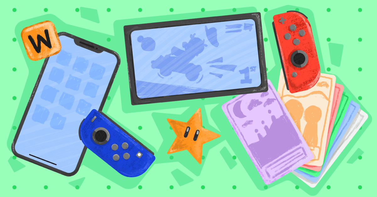 Assorted multicolored gaming devices against a mint green background