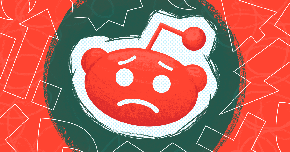 The Reddit logo against a red and green background
