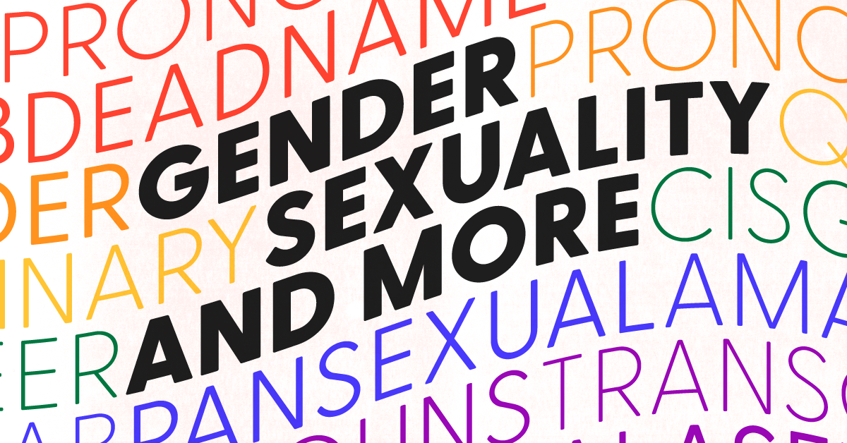 """Gender, sexuality, and more"" in black text against a rainbow background of LGBTQ+ terms"