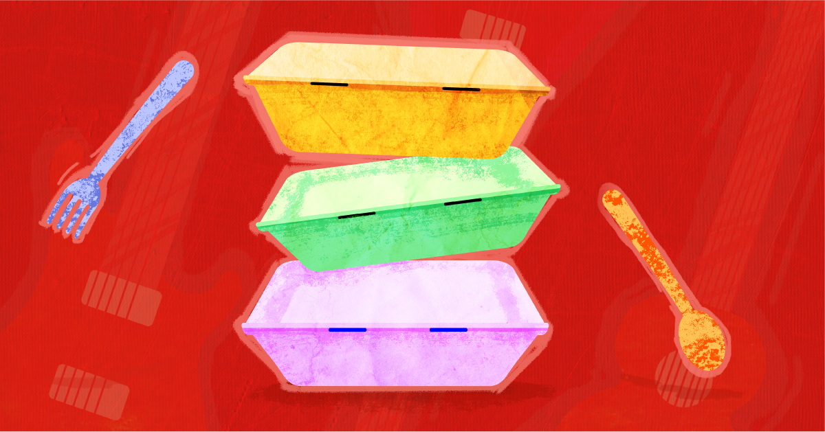 A stack of three brightly colored takeout boxes against a red background