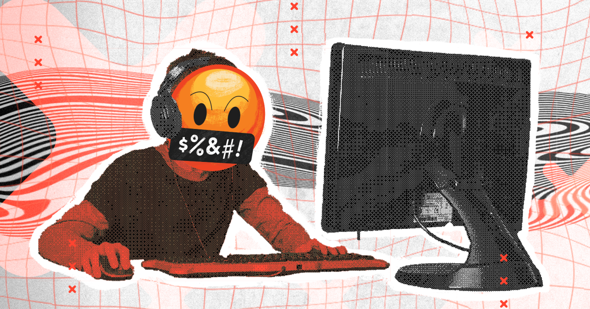 A futuristic picture of a child on the computer with the angry cursing emoji as a face