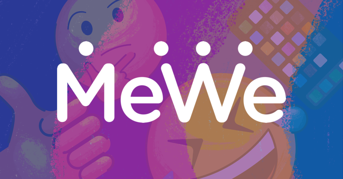 The MeWe logo against a multicolored emoji background