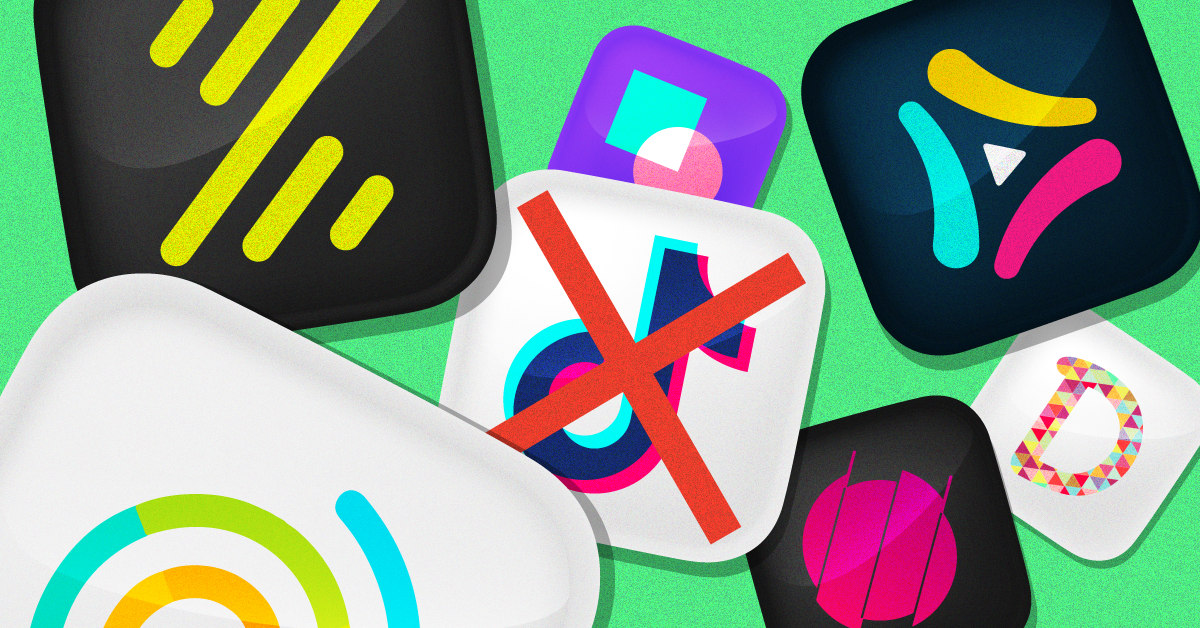 The TikTok logo in the middle of a number of alternative apps
