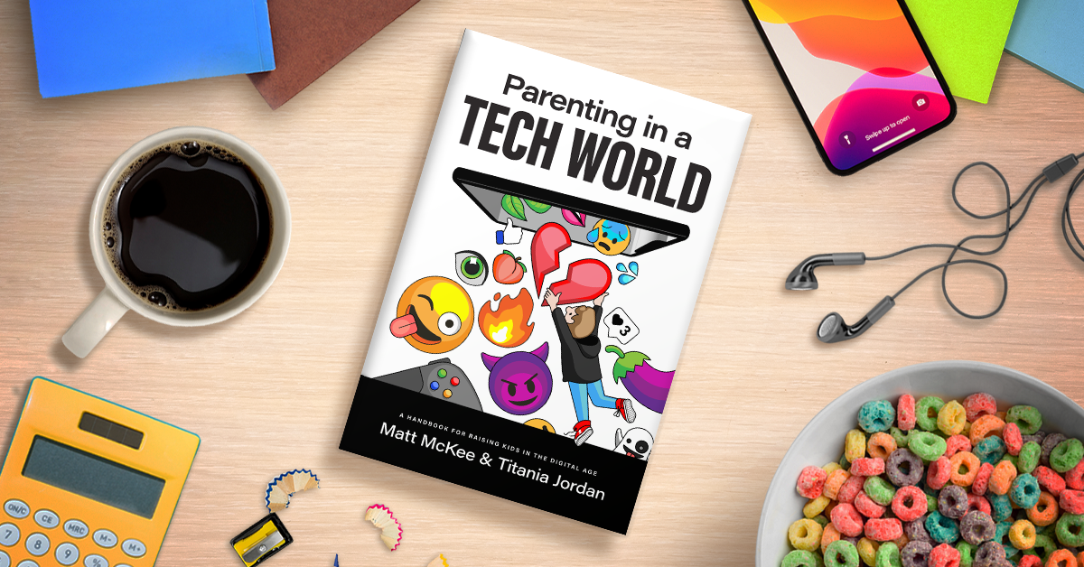 The Parenting in a Tech World book cover with various household objects beside it on a table