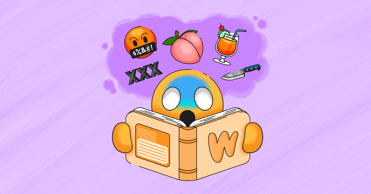 An emoji person reading an orange book with ominous emojis above their head