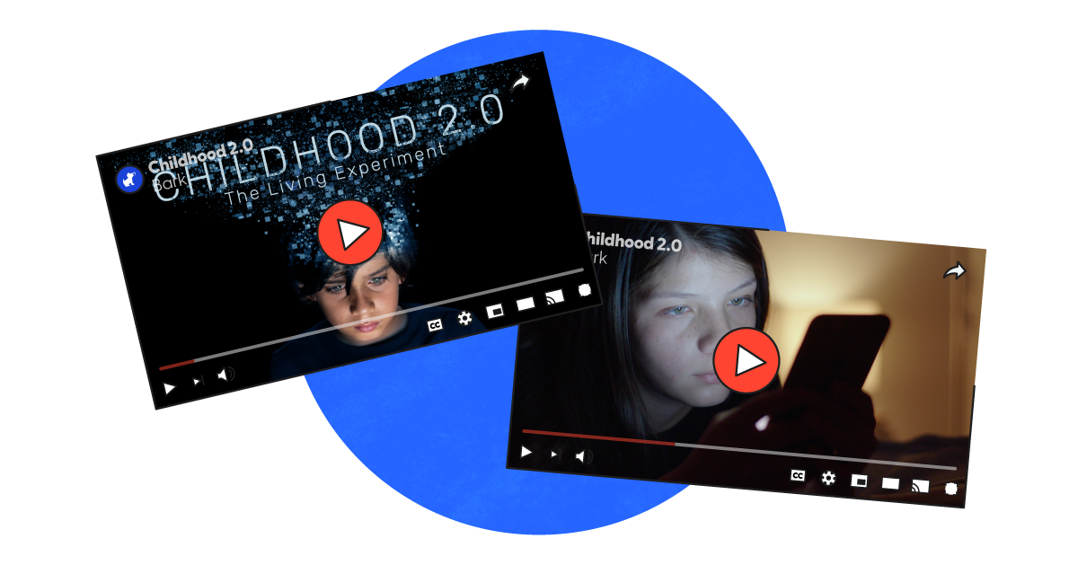 Two YouTube screens that show the Childhood 2.0 trailer and documentary thumbnails