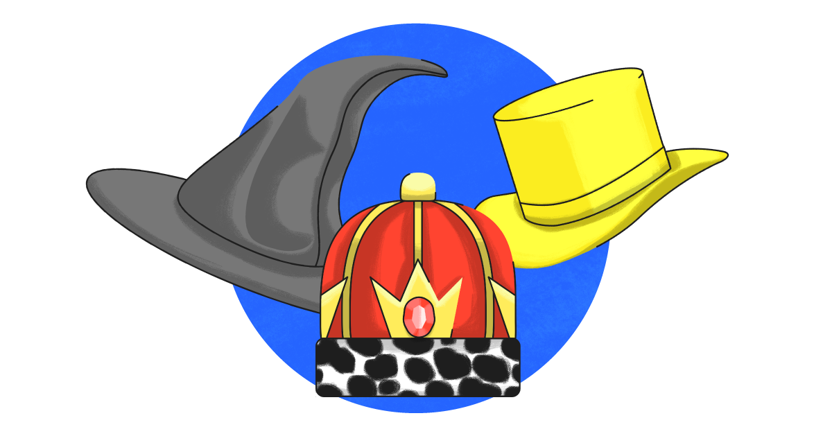 A magician hat, yellow top hat, and royal hat