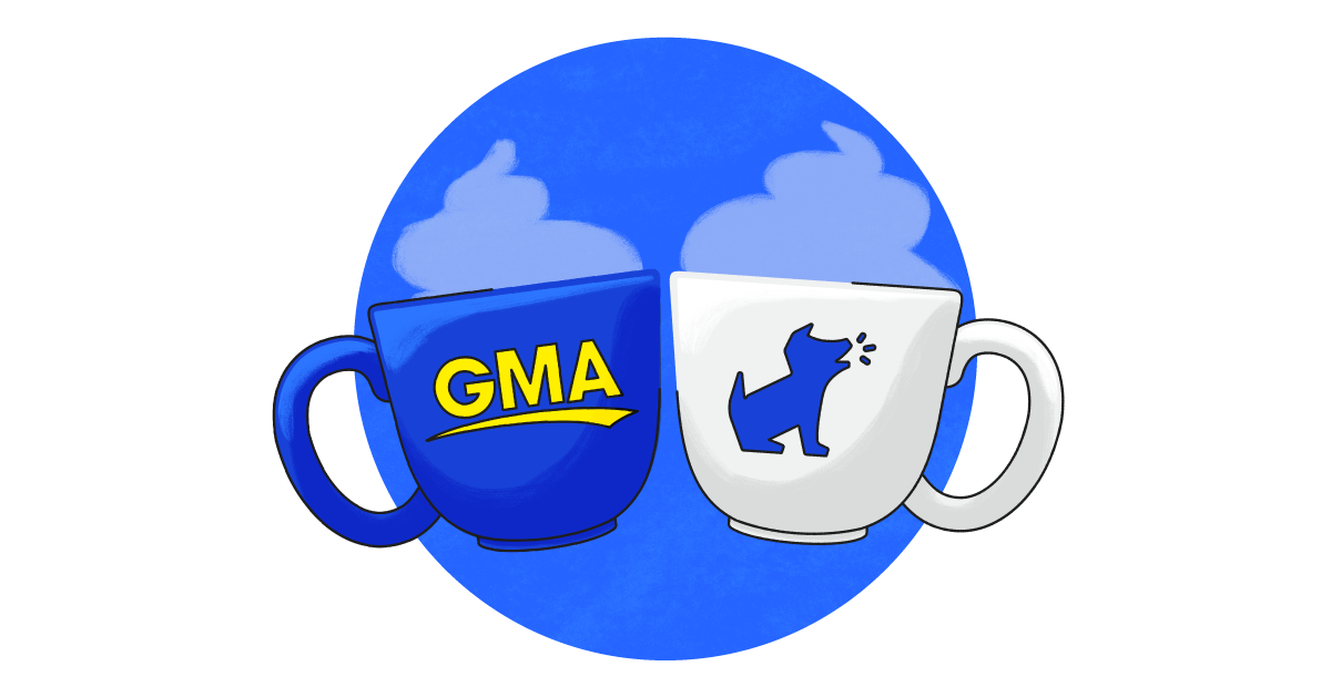 Two mugs — one with the GMA logo and one with the Bark logo