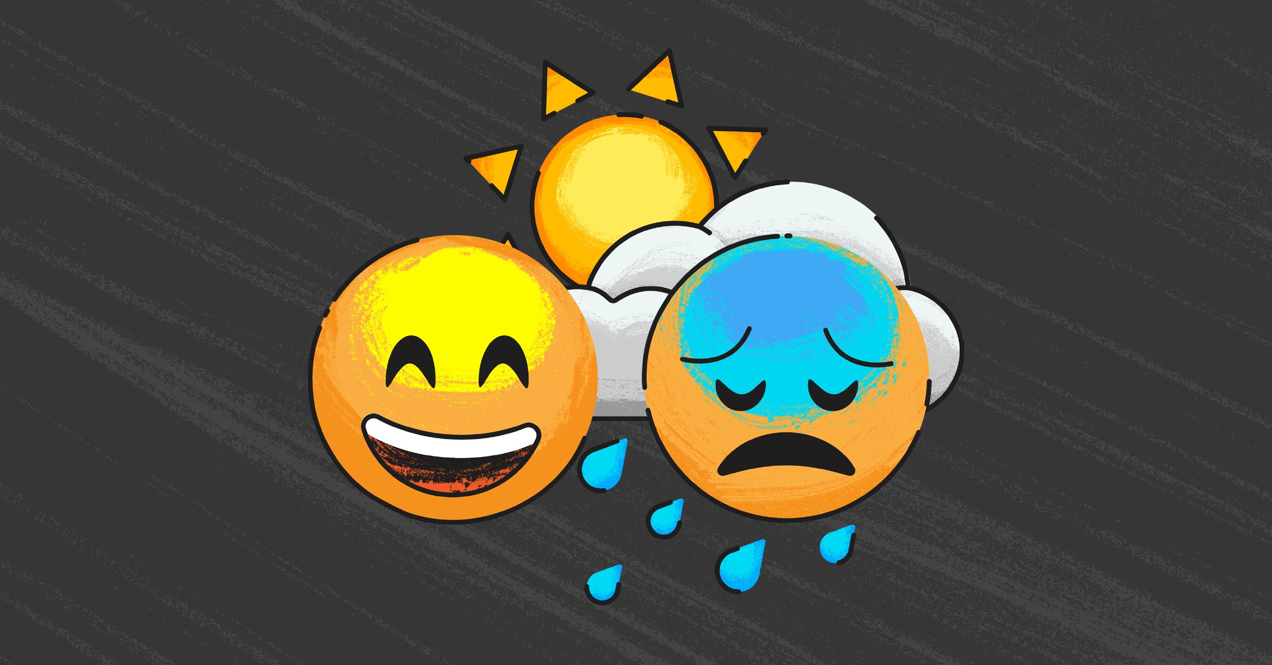 2020 research header with a laughing emoji and a crying emoji against a black background with a sun and clouds