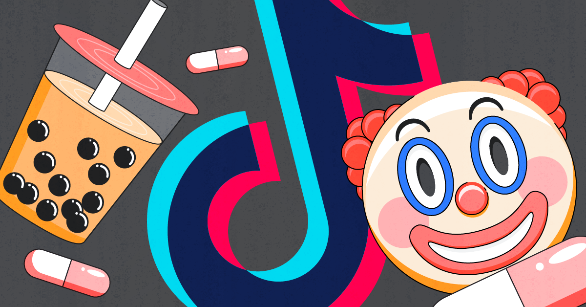 TikTok trends image with clown, pills, and boba tea