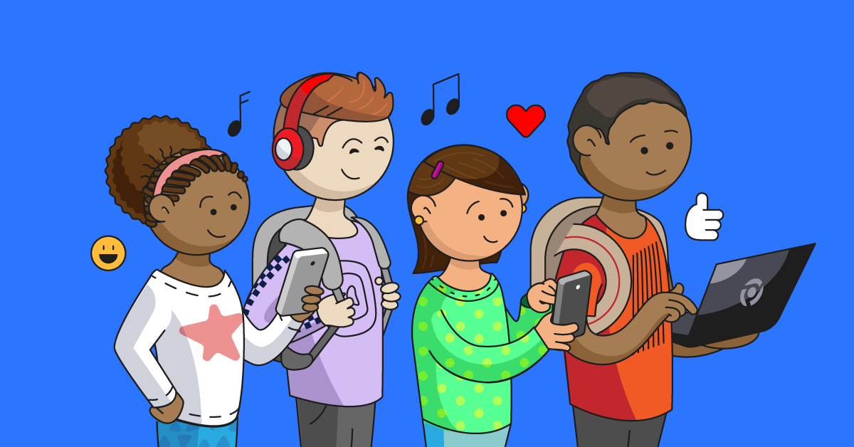 Autistic kids in a group on different devices against a blue background