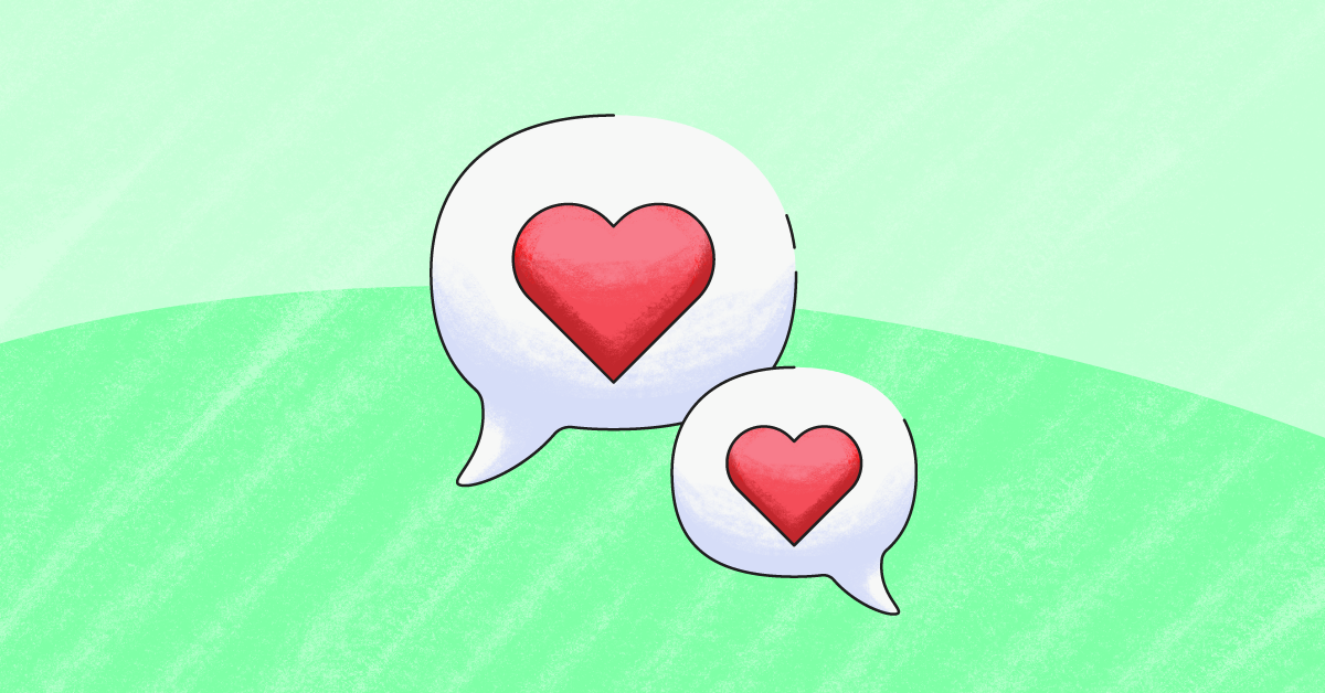 Text bubbles with hearts for digital citizenship
