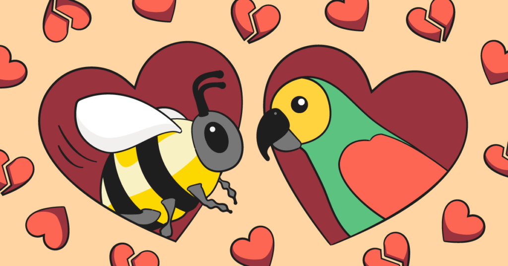 Age-appropriate sexual curiosity image with bird and bee