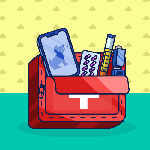First Aid kit with medical supplies and a smartphone