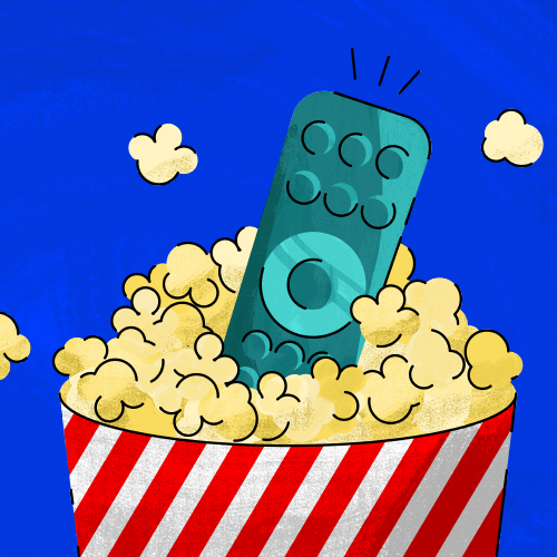 Bowl of popcorn with tv remote inside of it