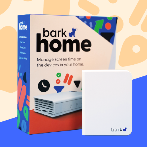 The Bark Home and box with blue, orange, green, and black shapes in the background