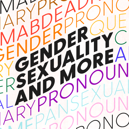 """""""Gender, sexuality, and more"""" in black text against a rainbow background of LGBTQ+ terms"""