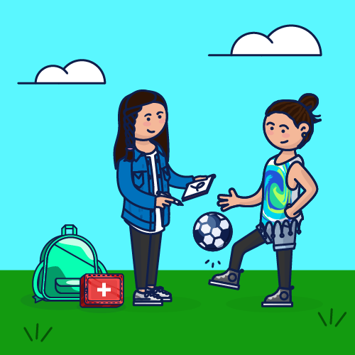 One girl drawing and another playing soccer