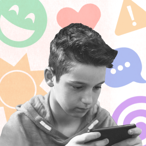 A child looks at their phone with faded multicolored emojis in the background