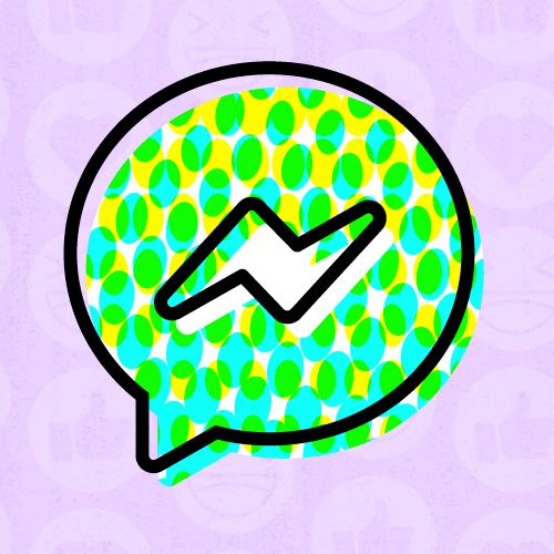 The Messenger Kids logo against a light purple background