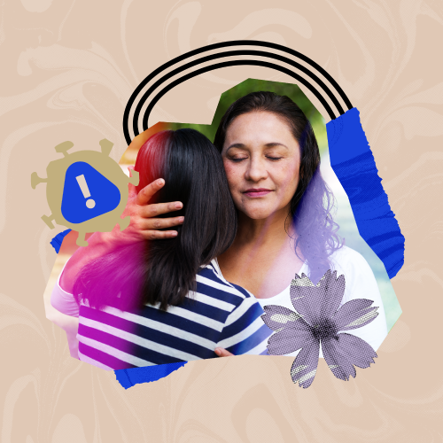 A parent and child embracing with a flower and arch around them