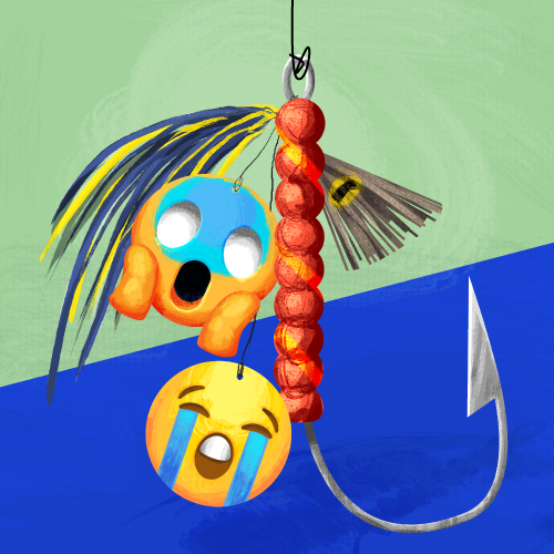Two emojis dangle from a fishing hook