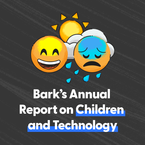 A laughing emoji and a crying emoji against a black background with a sun and clouds