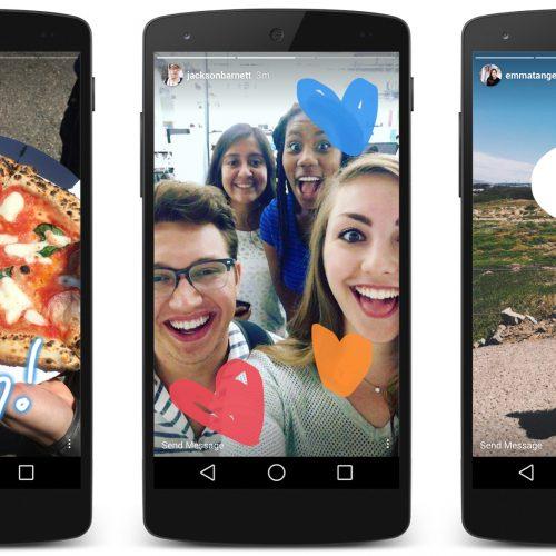3 smartphones showing different Instagram stories