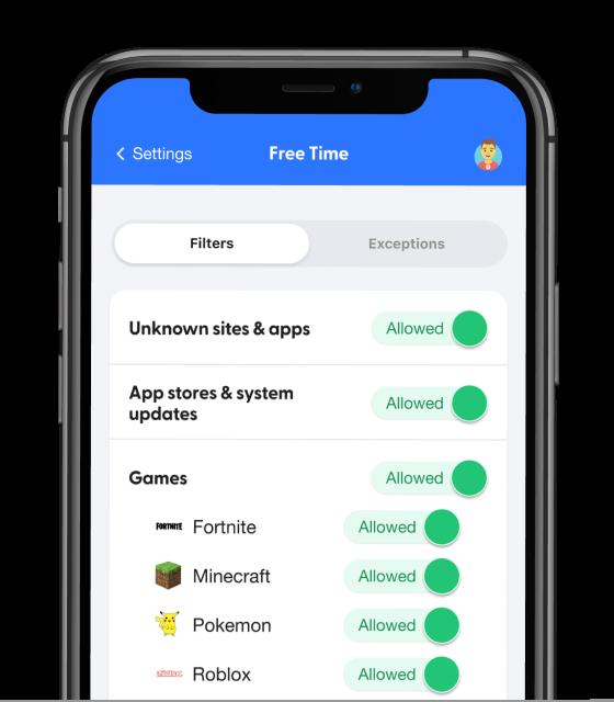 The bark app filtering screen