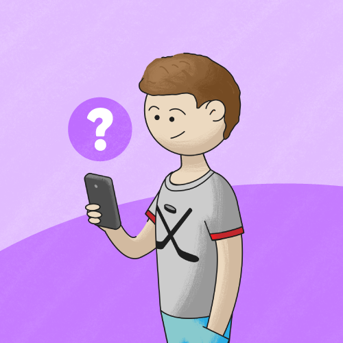 A kid spending screen time on a purple background
