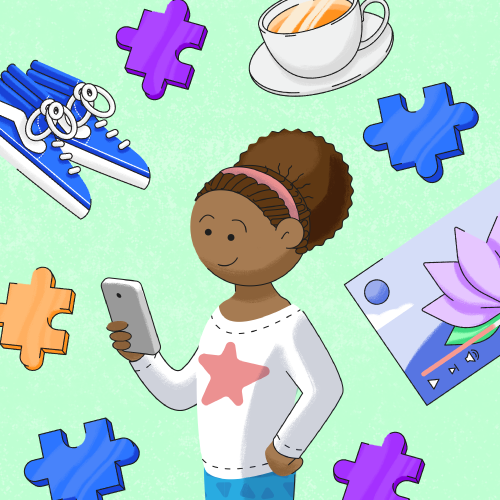 A child against a green background with sneakers, puzzle pieces, tea, and a video screen