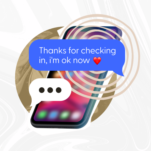 """text message saying """"Thanks for checking in, I'm ok now"""" with a heart emoji"""