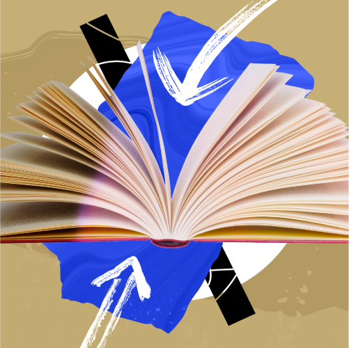 an open book with arrows pointing inside on a blue and brown background