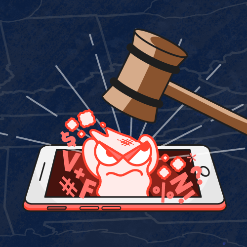 A gavel smashing a cyberbully ghost coming out of a phone