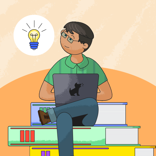 back to school image of dad on laptop