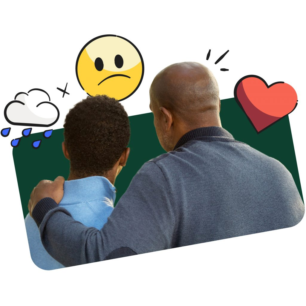 Depression in children illustrated by a parent and child embracing and turning away