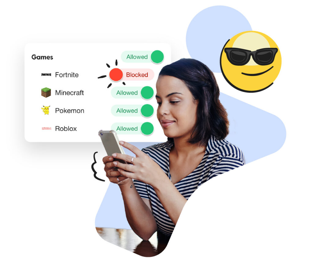 Parental control app Android illustrated by a woman on her phone