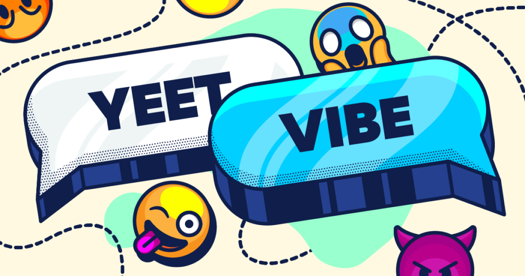 Teen slang illustrated with bright words and emojis