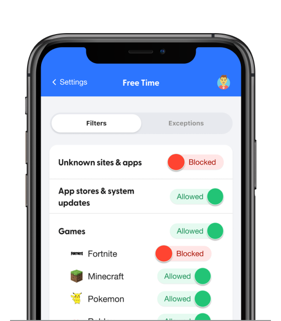 bark app manage filters screen